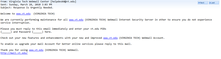 Phishing Example: Attempt to aquire PID and Password